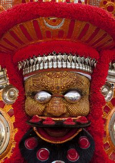 Man Dressed For Theyyam Ceremony With Traditional Painting On His Face And A Mask On His Eyes, Thalassery, India | Flickr - Photo Sharing!