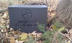 Ammo can turned into cemetery headstone.  Good for a Halloween themed #geocache.