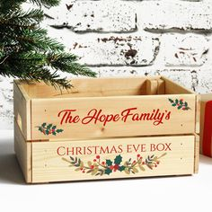 Personalised Family Christmas Eve Box, Wooden Xmas Crate With Garland Design Christmas Eve Crate, Xmas Eve Boxes, Its Christmas Eve, The Night Before Christmas, Family Christmas, Diy Christmas, Cricut Projects Christmas, Christmas Crafts For Gifts, Christmas Decorations