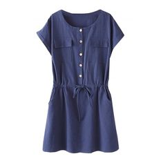 Women's Casual Short Sleeve Drawstring Waist Dress With Pockets (730 UYU) ❤ liked on Polyvore featuring dresses, navy, blue short sleeve dress, short-sleeve dresses, navy short sleeve dress, navy dress and round neck dress