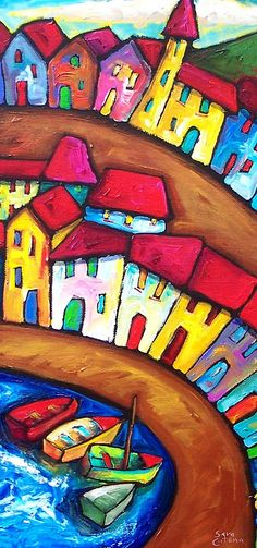 Sara Catena, SUMMER IN AMALFI - ITALY, Acrylic on stretched canvas. I absolutely love this colorful painting. Such an easy way to bring some joy into your home. Arte Elemental, Art Populaire, Art Prints Online, Naive Art, Art Plastique, Elementary Art, Teaching Art, Art Education, Art Lessons