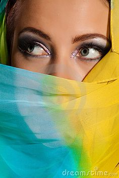 Photo about Arabian beautiful woman. Image of casual, black, faith - 13603608 Yellow Turquoise, Purple Yellow, Green And Grey, Black And Brown, Aqua, Yellow Color Combinations, Scenery Photography, Color Psychology, Color Mixing