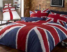 Union Jack or England Flag Blue Red White Duvet Quilt Cover Bedding Set   eBay