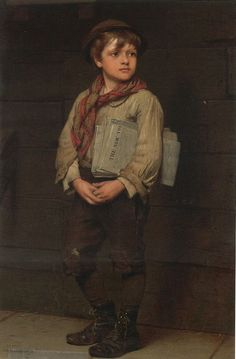 """Billy O'Riordan: """"As soon as he saw the messy, reddish-brown hair above a freckled forehead, Harry forced a frown and barked, 'O'Riordan! Again?' A slip of a boy slunk into the room, looking over his shoulder out the door, quickly shutting it behind him. In a whisper, the boldest and most troublesome of Harry's newsboys said, 'Mr. Campton didn't send me this time. I mean… he didn't catch me doing anything wrong.'"""" Blind Tribute by Mari Anne Christie"""