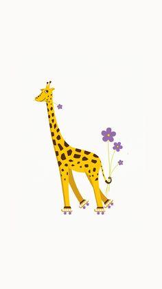 Rollerskating Girafe Illustration iPhone 6 Wallpaper