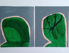 """Green Leaners, mm on panel & board, 8""""x10""""each, 2014.  Sarah Boyts Yoder"""