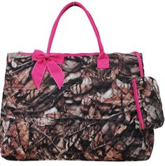 Large Pink Camo Print Quilted Rectangle Tote Bag