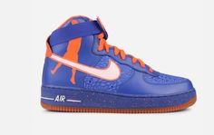 Get yourself a pair of the Nike Air Force 1 High Premium Sheed (Blue/Orange). Air Force 1 High, Nike Air Force, Blue Sneakers, Sneakers Nike, Blue Orange, Footwear, Pairs, Fan, Shoes