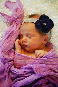 Newborn to 3 months baby girl flower headband  and by SarahsBlingandLace