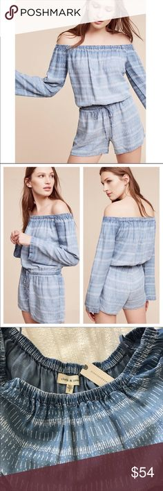 dd868e829f3 Shop Women s Anthropologie Blue size S Jumpsuits   Rompers at a discounted  price at Poshmark. Description  Off the shoulder Drawstring midsection.