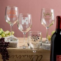 Personalized Wine Glasses at WeddingFavors.org