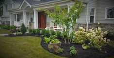 Front yard landscape Design Long island, Design and Build landscape - Gardening Today Mulch Landscaping, Front Yard Landscaping, Landscaping Ideas, Backyard Ideas, Garden Ideas, Pool Ideas, Outdoor Ideas, Mulch Ideas, Sloped Backyard