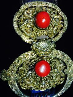 18th/19th C belt pendant, Mongolian gilt silver, coral. Private collection