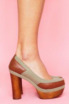 Jeffrey Campbell Yield Platform Pump - round, wooden heels are gorgeous