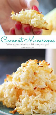 Coconut Macaroons are the perfect spring treat. A twist on the classic macaroon recipe, this one is made without eggs. Definitely a great Easter dessert. Chocolate Chip Shortbread Cookies, Toffee Cookies, Yummy Cookies, Ginger Cookies, Chip Cookie Recipe, Cookie Recipes, Dessert Recipes, Cookie Ideas, Cookie Desserts