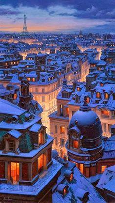 La ciudad de París recubierta bajo un manto de nieve.