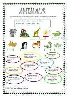 ANIMALS | FREE ESL worksheets