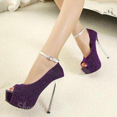 Glittering Purple Peep-toe Platform Stiletto Heels