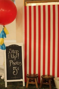 boy's circus first birthday photo booth