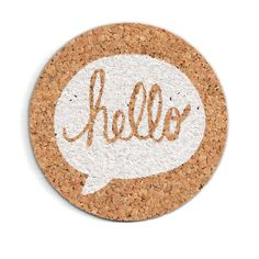 """Hello Speech Bubble Cork Coaster // 4"""" Round Cork Coaster on Etsy, kr 74,12"""