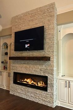 Custom fireplace design - Direct Vent Linear fireplace by Travis Industries. - Custom fireplace design – Direct Vent Linear fireplace by Travis Industries. Modern Fireplace Decor, Living Room Decor Fireplace, Fireplace Tv Wall, Linear Fireplace, Custom Fireplace, Rustic Fireplaces, Fireplace Remodel, Fireplace Design, Family Room Fireplace