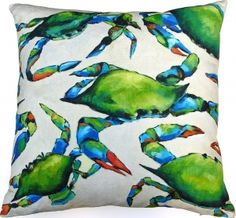 Robin Rowe - Blue Crabs Art Pillow