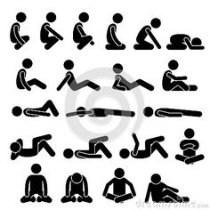 Various Squatting Sitting Lying Down On The Floor Postures Positions Human Man People Stick Figure Stickman Pictogram Icons - Download From Over 54 Million High Quality Stock Photos, Images, Vectors. Sign up for FREE today. Image: 79655117