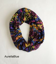 Royal Blue Aztec Infinity Scarf Jersey Scarf Tube by AurellaBlue, $25.00