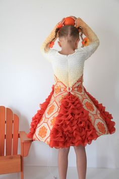 How cute is this orange dress! PERFECT flower girl dress!