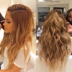 Long wavy half up do hair style