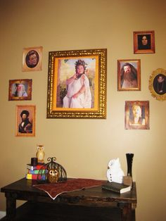 Harry Potter party.  Portrait wall.