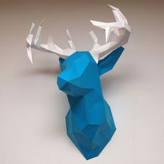 How to create your own low poly paper sculptures using Meshlab and Pepakura. Free pdf of the deer head example.