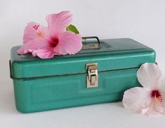 Spearmint Green Metal Tool Storage Box by SunshineSurprises