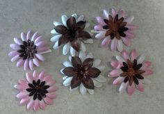 Silk Brown and Pink flower hair clips set of 6 by ONSHINE on Etsy, $2.99