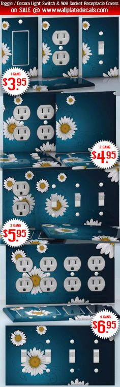 DIY Do It Yourself Home Decor - Easy to apply wall plate wraps   Chamomile Garden White flowers on blue background wallplate skin stickers for single, double, triple and quadruple Toggle and Decora Light Switches, Wall Socket Duplex Receptacles, and blank decals without inside cuts for special outlets   On SALE now only $3.95 - $6.95