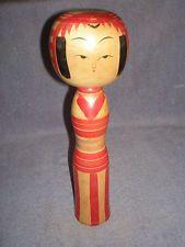 "RARE Vintage Niyama-Kyuji (1888-1969) Japanese Kokeshi Wooden Doll - 12"", Signed"