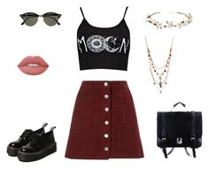 """""""Troubled souls unite we got ourselves tonight."""" by juliaisonfire ❤ liked on Polyvore featuring Miss Selfridge, Ray-Ban, Cult Gaia, Lime Crime, Betsey Johnson, vintage, blogger, rock, grunge and 90s"""