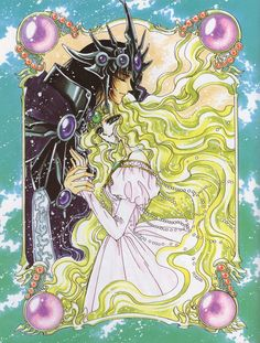 "Art from ""Magic Knight Rayearth"" series by manga artist group CLAMP."