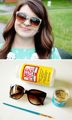 DIY Glitter Sunglasses. Add some sparkle to your everyday sunglasses with glitter and Mod Podge for summer time.