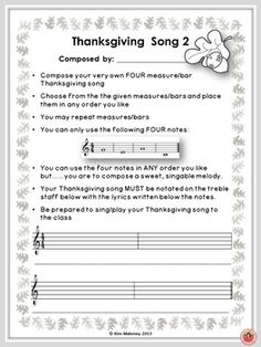 Six Music Composition Activities for Thanksgiving! Have your students create and sing their own Thanksgiving songs. ♫ CLICK through to preview or save for later! ♫