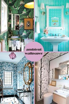 AWESOME bathrooms, wallpaper, wicked wallpaper, blue bathrooms. Bottom right! I need that one!