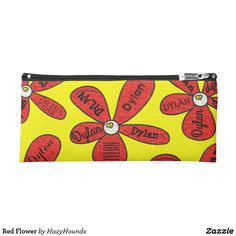 Red Flower Pencil Case