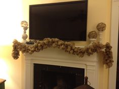 My husband wanted to put the TV on the mantle, but I thought it just made the mantle look so drab. In this post I will show you how to make garland burlap which took my mantle from blah to southern...