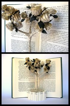 Rose tree book art sculpture by Malena Valcárcel Sculpture Lessons, Book Sculpture, Paper Sculptures, Folded Book Art, Book Folding, Book Page Crafts, Art Lessons Elementary, Handmade Books, Altered Books