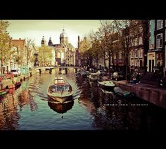 Amsterdam. (by Siddharth Dasari, via Flickr)  #travel #Europe #Amsterdam #Netherlands #landscape #photography #boats