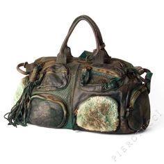 Caterina Lucchi Designer Satchel Handbag in Shearling and Leather, green