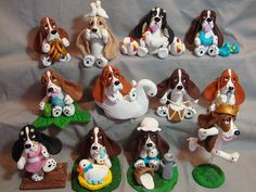 The 12 Basset Hounds of Christmas Polymer Clay Sculptures