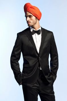 What? Bowties and Turbins are in? OBSESSED! Jean Paul Gaultier Spring 2013 Menswear Black #Suit with Bowtie