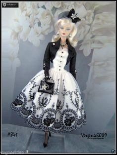tenue outfit + accessoires barbie silkstone  vintage et  fashion royalty #841