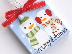 Mini canvas snowman couple ornament by threedoodlebugs on Etsy